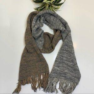 Barneys N.Y.  Scarf Wool Cashmere Fringe Tan Gray